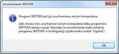 Komunikat blokady uruchomienia wielu programów Sertum jednocześnie