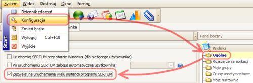 Opcja: Zezwalaj na uruchomienie wielu instancji programu SERTU